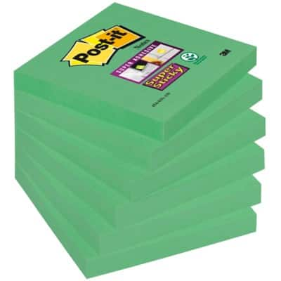 Post-it Super Sticky Notes 76 x 76 mm Green 6 Pieces of 90 Sheets