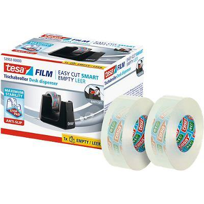tesafilm Tape Dispenser Easy Cut SMART Black + 2 Eco & Clear Tape Rolls