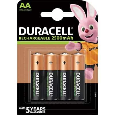 Duracell AA Rechargeable Batteries Ultra Power LR6 2500mAh NiMH 1.2V 4 Pieces
