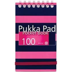 Pukka Navy Pocket Notebook A7 Pink - Pack of 6