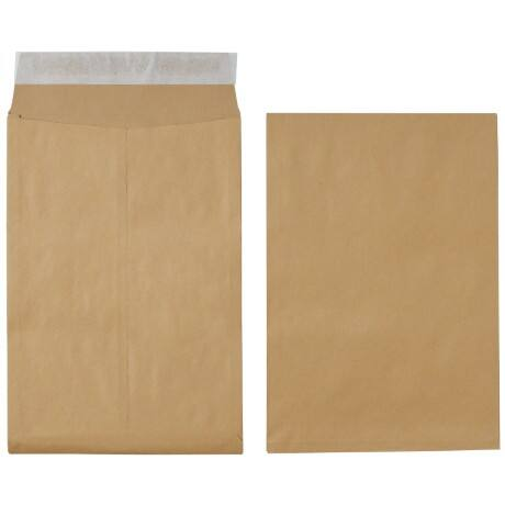 Office Depot Gusset Envelopes non standard 115gsm Brown plain peel and seal 125 pieces