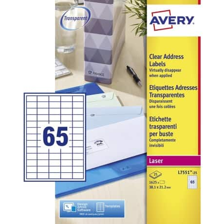 AVERY Zweckform Mini Address Labels L7551-25 Transparent 1625 labels per pack