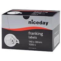Niceday Adhesive Franking Labels Self Adhesive 140 x 38 mm White 1000 Pieces of 1000 Labels 1000 Pieces of 1000 Labels