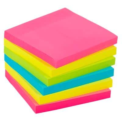 Office Depot Extra Sticky Notes 76 x 76 mm Assorted 6 Pads of 90 Sheets