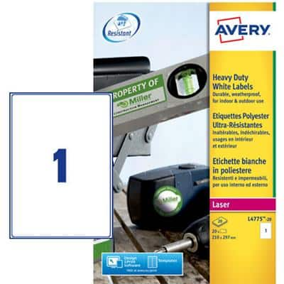 Avery L4775-20 Resistant Labels Self Adhesive 210 x 297 mm White 20 Sheets of 1 Label