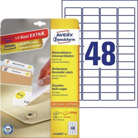 Avery Laser Labels L4736REV-25 White 1200 labels per pack