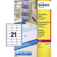 Avery L7560-25 Address Labels Self Adhesive 63.5 x 38.1 mm Clear 25 Sheets of 21 Labels