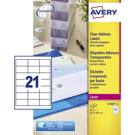Avery Address Labels Special format Clear 38 x 63.5 mm 25 Sheets of 21 Labels