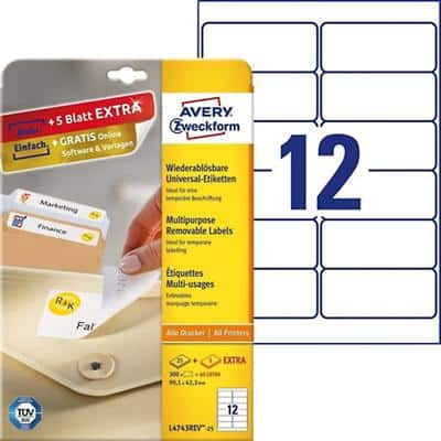 Avery L4743REV Labels A4 White 99.1 x 42.3 mm 30 Sheets of 12 Labels