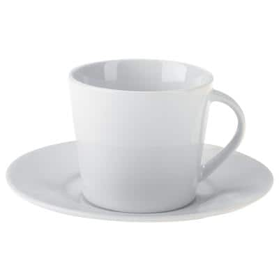 Niceday Cup and Saucer Set Porcelain 175ml White 6 Pieces