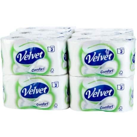 Velvet Toilet Paper Comfort 2 ply 24 rolls of 210 sheets