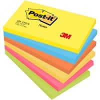 Post-it Sticky Notes 127 x 76 mm Energetic Assorted Colours 6 Pads of 100 Sheets