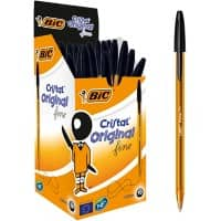 BIC Cristal Original Fine Ballpoint Pen Fine 0.3 mm Black Pack of 50