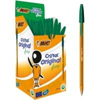 BIC Cristal Original Fine Ballpoint Pen 0.3 mm Green Pack of 50