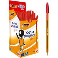 BIC Cristal Original Fine Ballpoint Pen 0.3 mm Red Pack of 50