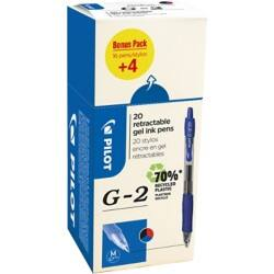 Pilot G-207 Rollerball Pens 0.4 mm assorted 20 pieces