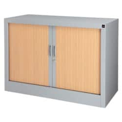 Realspace Tambour Cupboard Silver, Beech 700 x 1,000 x 450 mm