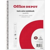 Office Depot Notebook A5+ Squared White, Red 5 Pieces of 80 Sheets