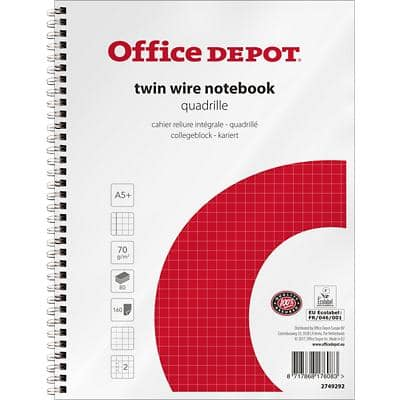 Office Depot Notebook A5+ Squared A5+ Squared Perforated 2 Holes 160 Pages 5 Pieces of 80 Sheets