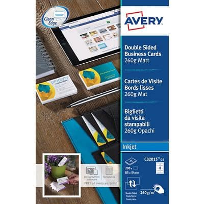 Avery C32015-25 Business Cards 85 x 54 mm 260gsm White 200 Pieces