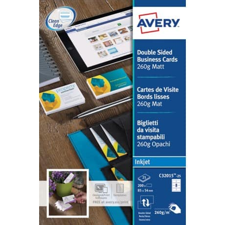Avery Business cards C32015-25 A4+ 260gsm White 25 sheets of 8 pieces