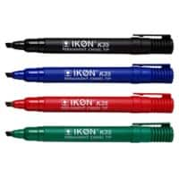 Permanent Markers K35-WLT4 Chisel Black, Blue, Green, Red Pack of 4
