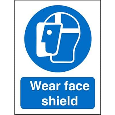 Mandatory Sign Face Shield vinyl 20 x 15 cm