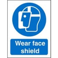 Mandatory Sign Face Shield Plastic 20 x 15 cm