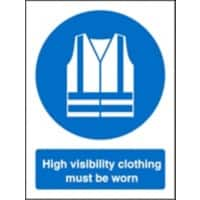 Mandatory Sign High Vis Clothing Must Be Worn Vinyl 20 x 15 cm