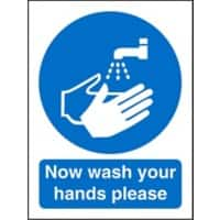 Mandatory Sign Wash Hands vinyl 20 x 15 cm