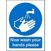 Mandatory Sign Now Wash Your Hands Vinyl 20 x 15 cm