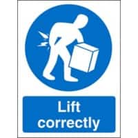 Mandatory Sign Lift Correctly vinyl 30 x 20 cm