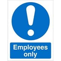 Mandatory Sign Employees vinyl 20 x 15 cm