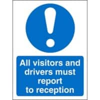 Mandatory Sign Visitors and Drivers Report to Reception Vinyl 30 x 20 cm