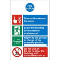 Fire Action Sign Self Adhesive Plastic Assorted 20 x 15 cm