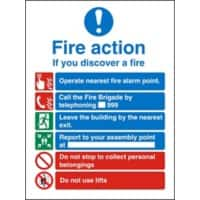 Fire Action Sign Self Adhesive Plastic 30 x 20 cm