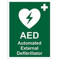 First Aid Sign AED External Vinyl 20 x 15 cm