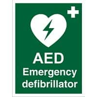 First Aid Sign AED Vinyl 30 x 20 cm