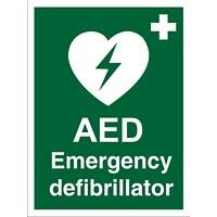 First Aid Sign AED Emergency Defibrillator Plastic 20 x 15 cm