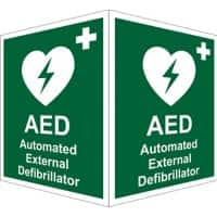 First Aid Sign AED External Plastic 20 x 15 cm