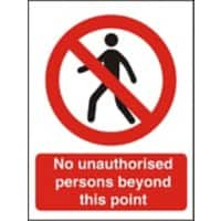 Prohibition Sign No Unauthorised Persons Plastic 40 x 30 cm