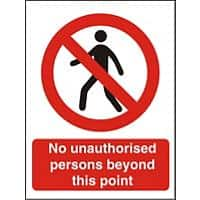 Prohibition Sign No Unauthorised Persons Beyond This Point Plastic 40 x 30 cm