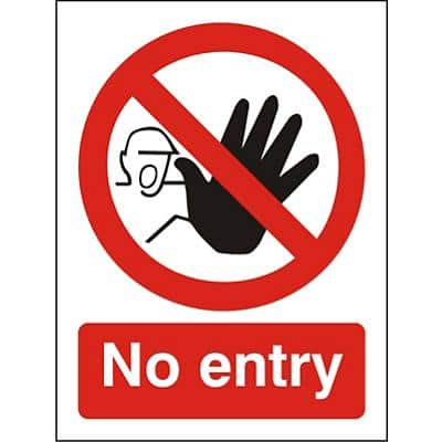 Prohibition Sign No Entry Plastic 20 x 15 cm