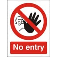 Prohibition Sign No Entry Plastic 40 x 30 cm