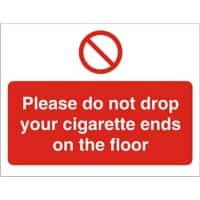 Prohibition Sign Cigarette Ends Plastic 15 x 20 cm