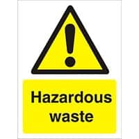 Warning Sign Hazardous Waste Plastic 30 x 20 cm