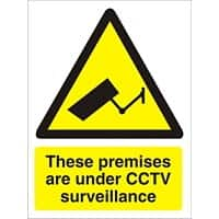 Warning Sign Under CCTV Plastic 20 x 15 cm