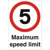 Road Sign 5 Mph Plastic 60 x 40 cm