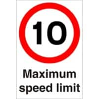 Road Sign 10 Mph Plastic 60 x 40 cm