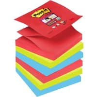 Post-it Super Sticky Z-Notes 76 x 76 mm Bora Bora Assorted Colours 6 Pads of 90 Sheets